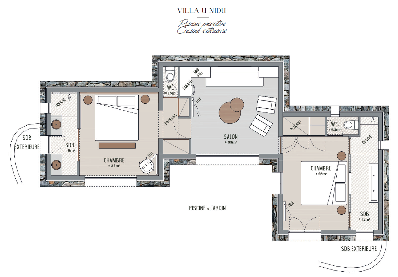 Plan Dressing En U villa u nidu 2020 - résidence hôtelière **** palombaggia